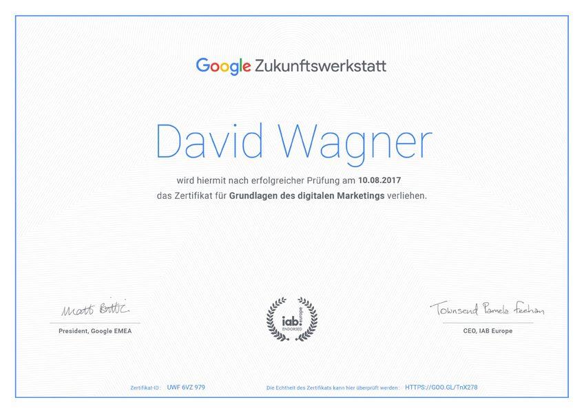 Google Zukunftswerkstatt Zertifikat
