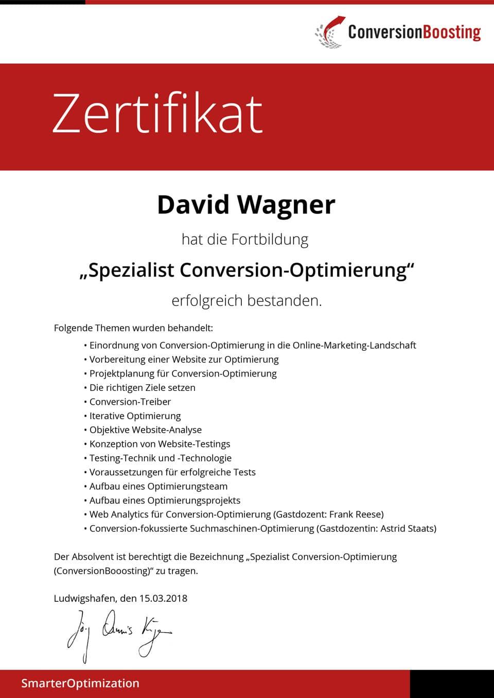 Spezialist Conversion-Optimierung - Zertifikat